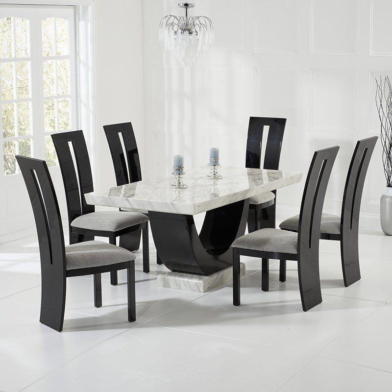 Rivilino Cream Black Constituted Marble Dining Table Set 6