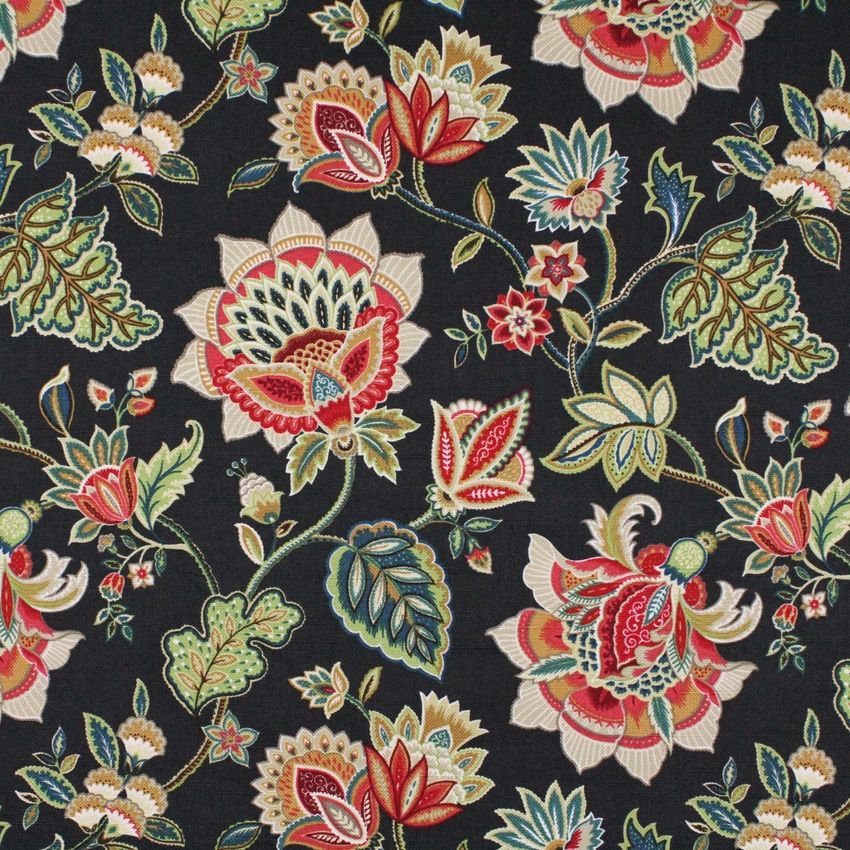 Oxford Grey Black And Green Floral Print Upholstery Fabric Floral Print Upholstery Upholstery Fabric Printing On Fabric