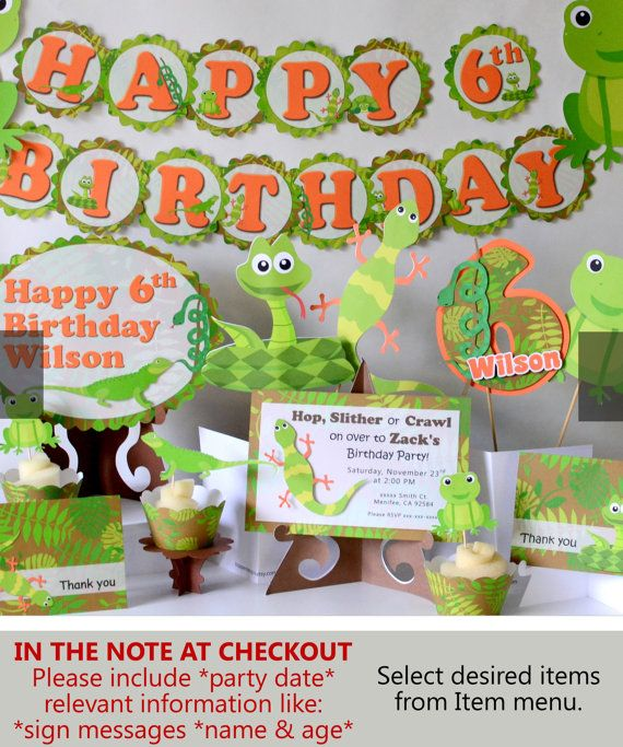 Reptile Party Reptile Birthday Decorations Snake Lizard Frog