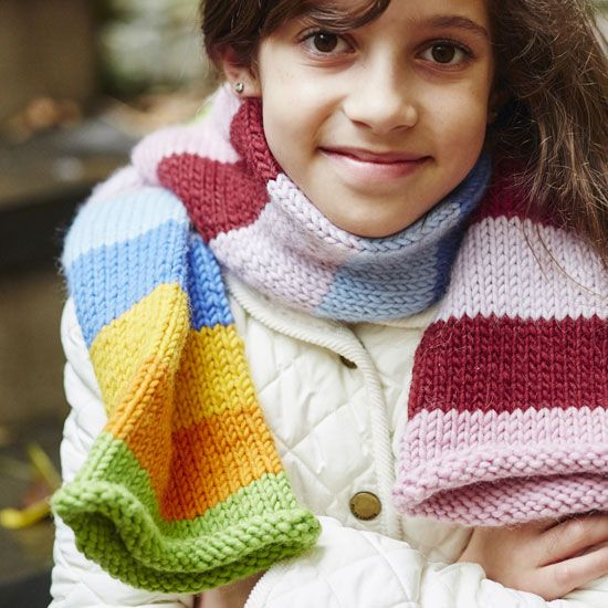 78c7a67a7338d Knitting for Kids: Stripy Tube Scarf - Healthy Home | DIY Projects ...