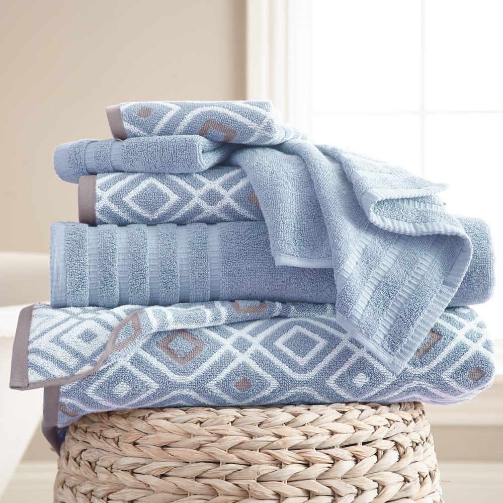 Modern Threads 6 Piece Yarn Dyed Towel Set Oxford Blue 5ydjqoxg
