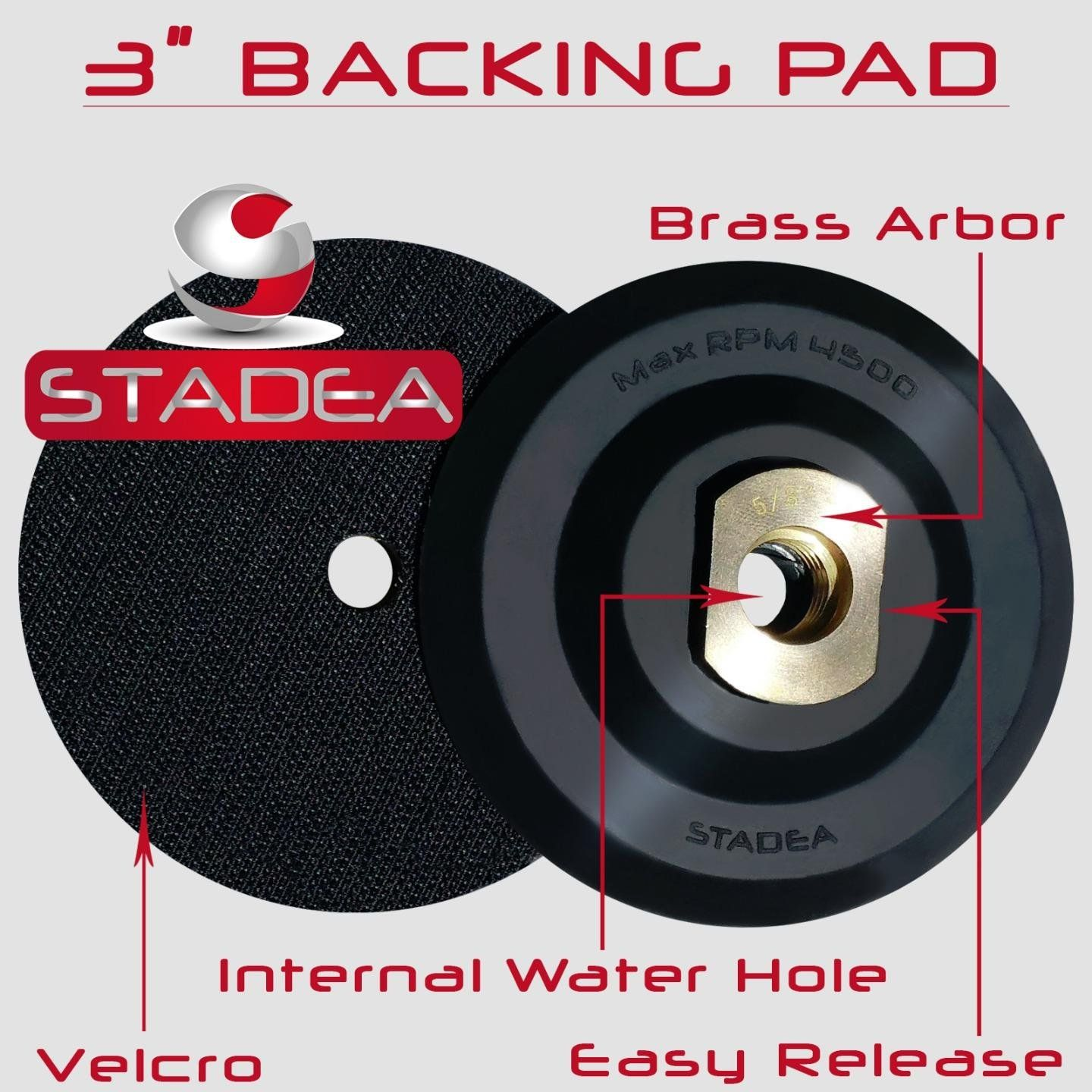 "Stadea 4 inch Rubber Backing Pad Flexible Backer Pad with Backing 5//8/"" 11"