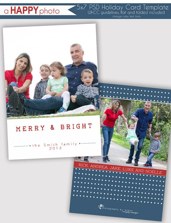 Simple Bright And Merry Holiday Photo Card Template Photographers Psd Whcc 5x7 Flat Holiday Card Template Holiday Photo Cards Template Photo Card Template
