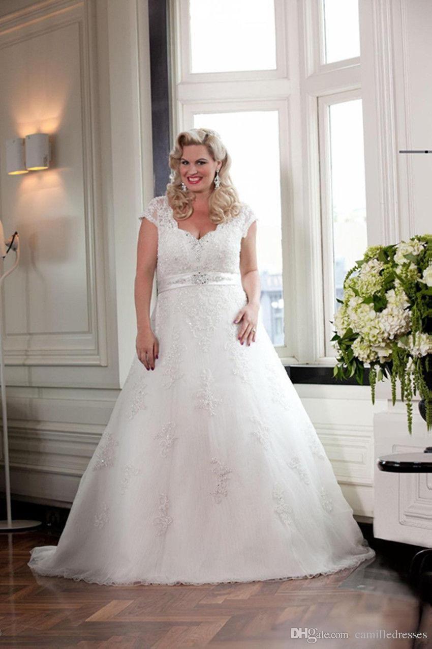 Lace cap sleeve a line wedding dress  Cheap  Modest A Line Plus Size Wedding Dress Cap Sleeve Lace