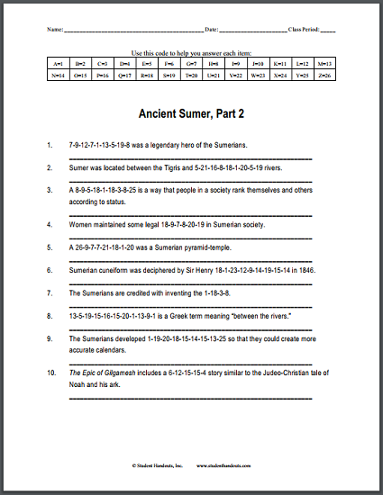 Ancient Sumer Code Puzzle Worksheet 2 Free To Print Pdf File For World History