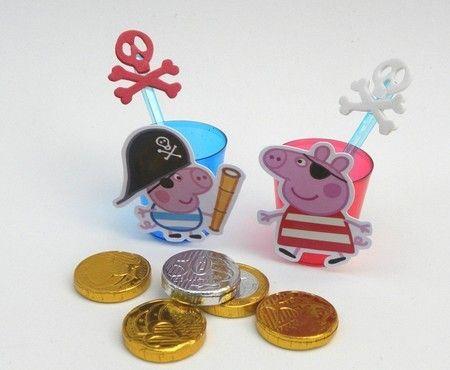 24 Copinhos Brigadeiro de Colher George Pig Pirata-Cortes p/ Montar  www.petilola.com.br