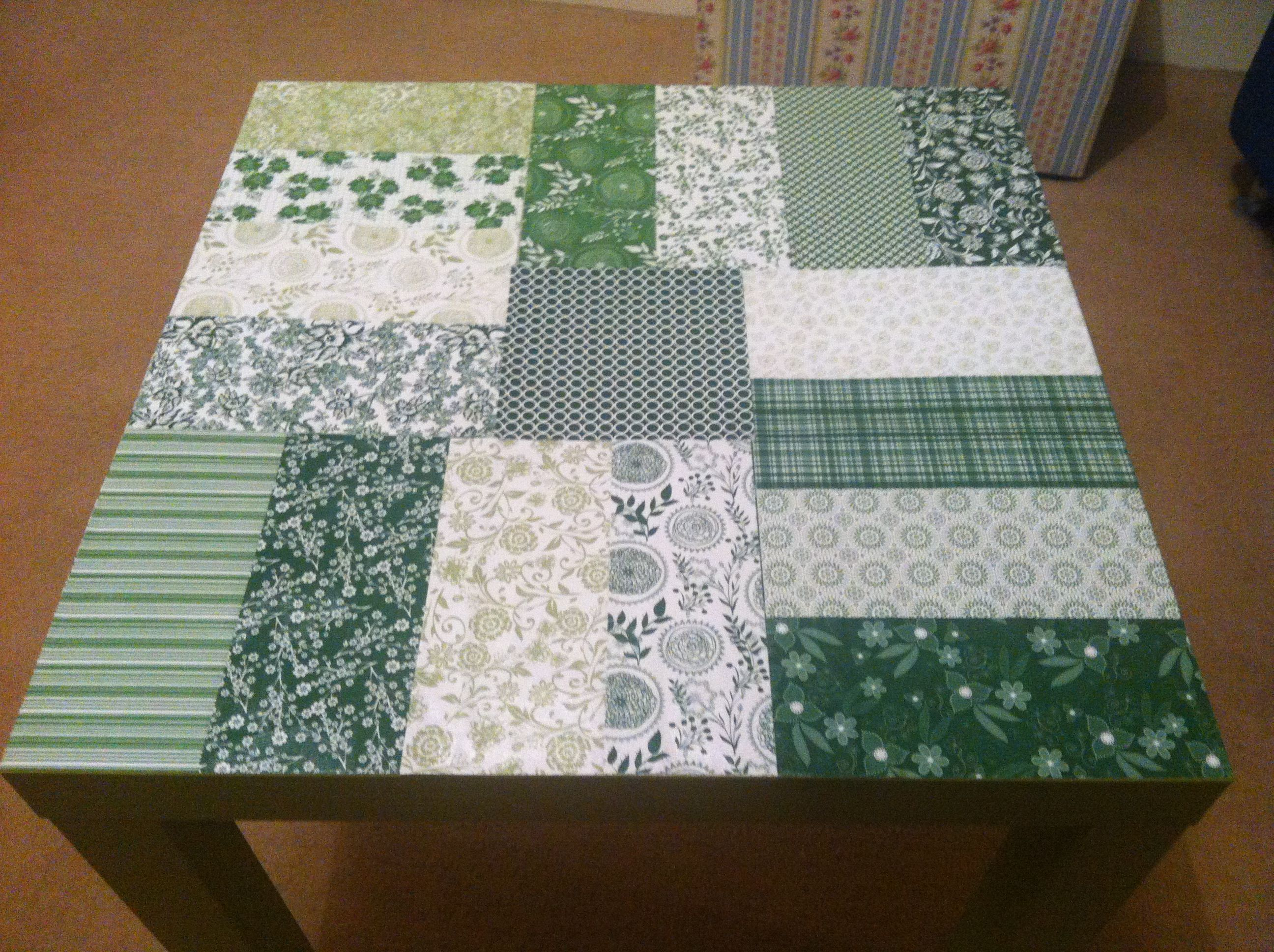 Ikea LACK table revamped using decoupage