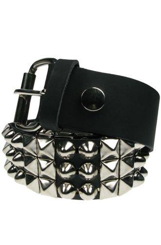 Bullet 69 Pyramid Studded Black Leather Rocker Biker Belt