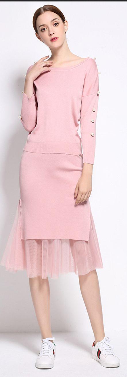 Pink Lace Splicing Two Piece Dress | looks | Pinterest | Camuflaje ...