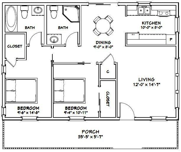 Haberae Small Houses In Reno: 36x24 House -- #36X24H3D -- 864 Sq Ft
