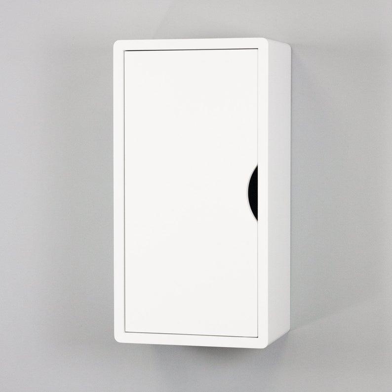 White Floating Cabinet Wall Mount Shelf Storage Small Etsy