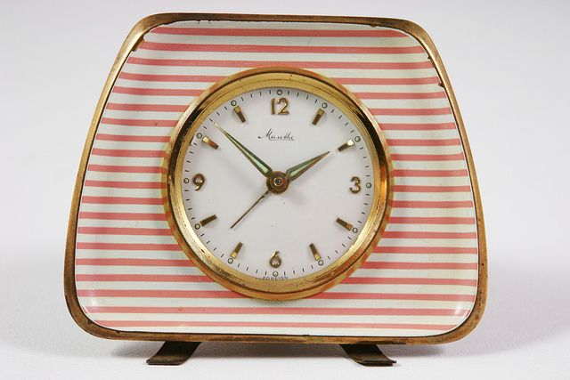Mauthe alarm clock  Could duplicate this with an old clock from a garage sale or thrift store and striped card stock or scrapbook/wall paper.