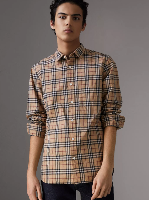 dc3572579c685e A Burberry Vintage check cotton shirt tailored with a straight-fit  silhouette, point collar and single-button cuffs.