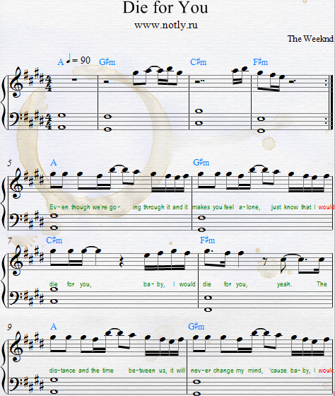 Beauty And The Beast Sheet Music With Lyrics: Die For You Download PDF Piano Sheet Music