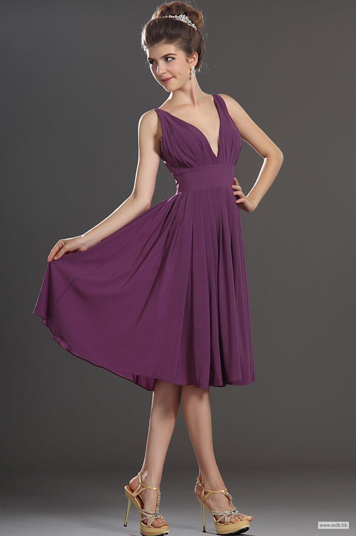 floor length bridesmaid dresses deep V neck A line chiffon dress ...