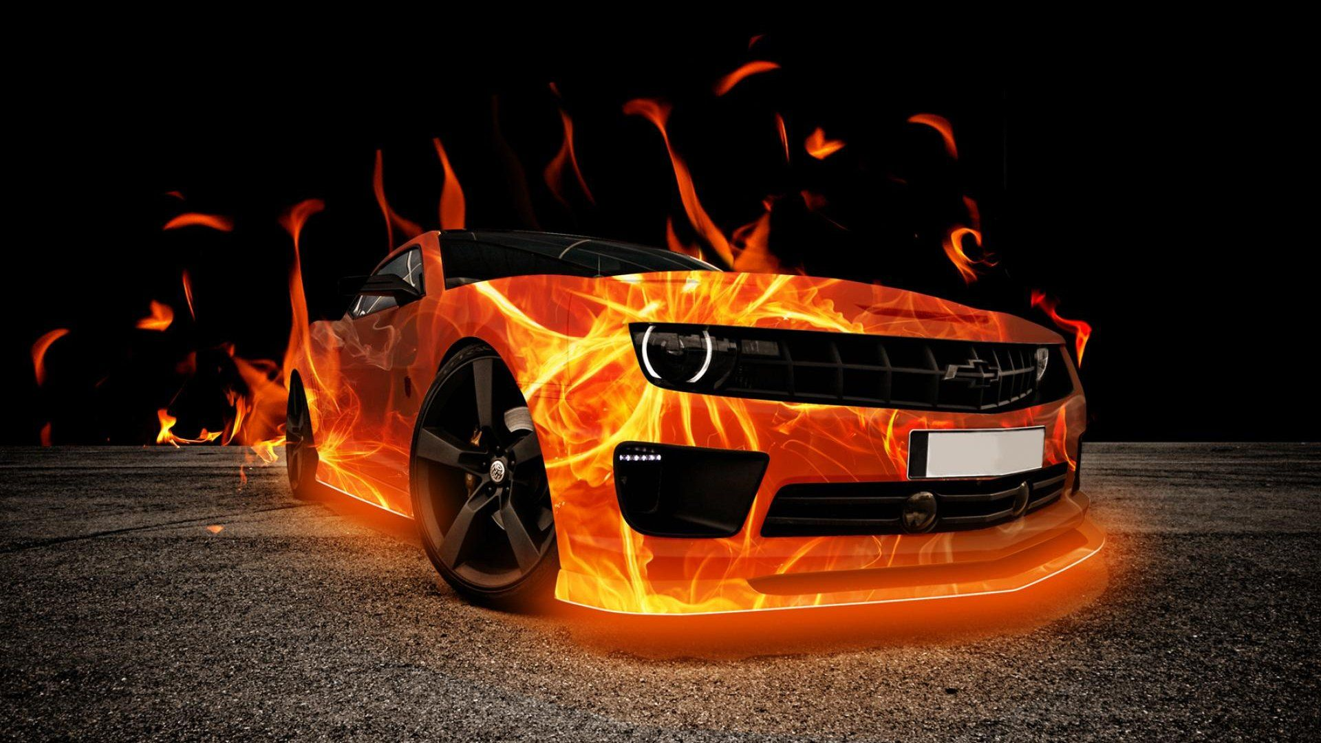 Chevlorete In Flame Sports Car Wallpaper Car Wallpapers 3d Wallpaper Cars