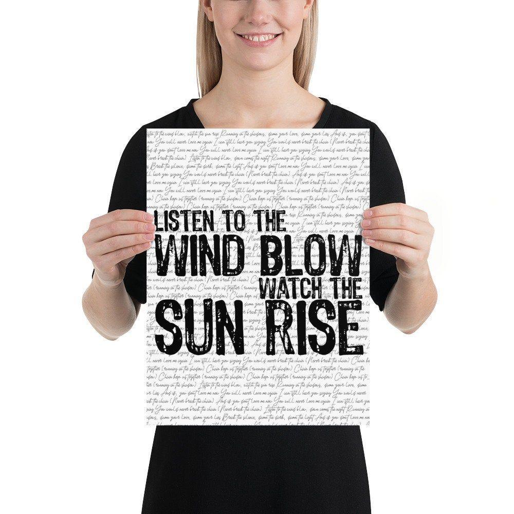 Listen to the Wind Blow / Watch the Sun Rise | Fleetwood Mac Lyric Art Print