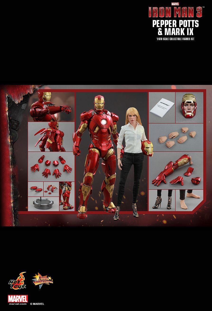Hot Toys Iron Man 3 Pepper Potts Mark Ix 1 6th Scale Collectible Figures Set Hot Toys Marvel Toys Iron Man