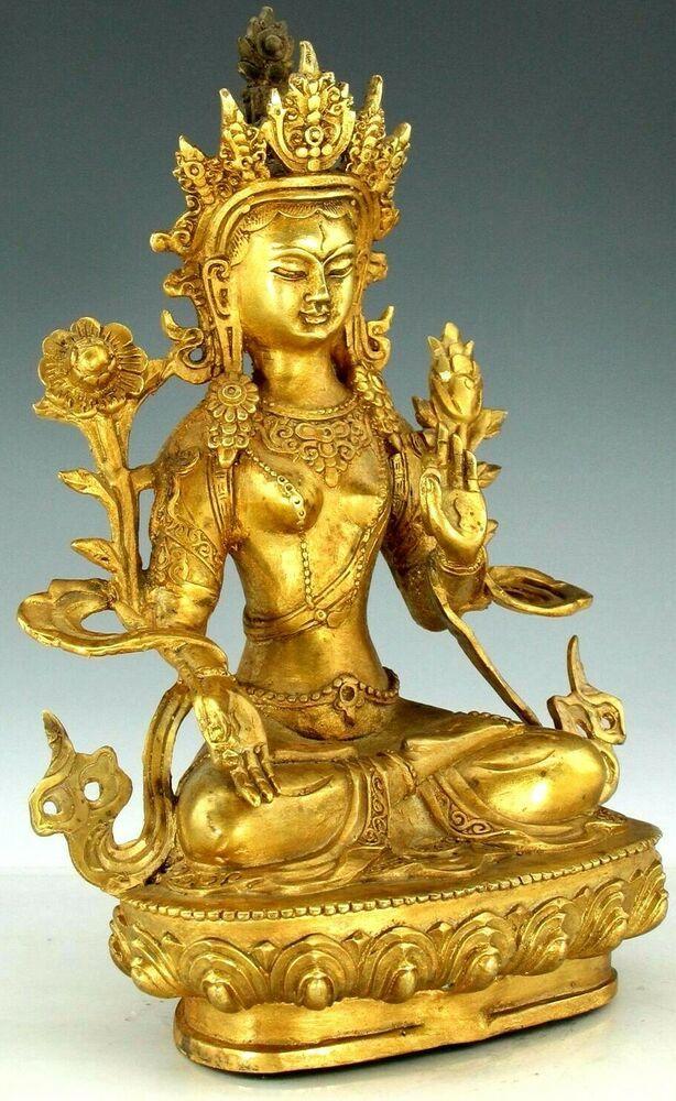 Tibetan Buddhism Gilt Gold Red Copper Yamaraja Statue