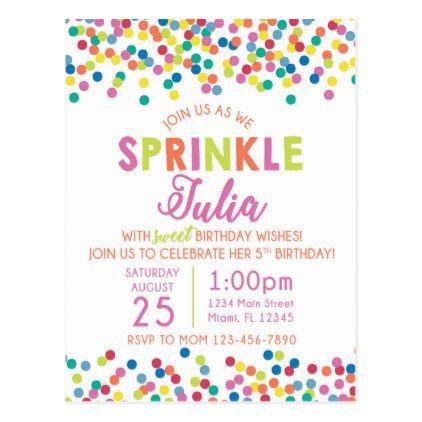 Sprinkles Birthday Invitation Postcard
