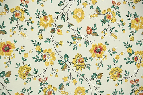 1940 39 S Vintage Wallpaper Floral Wallpaper With Yellow And
