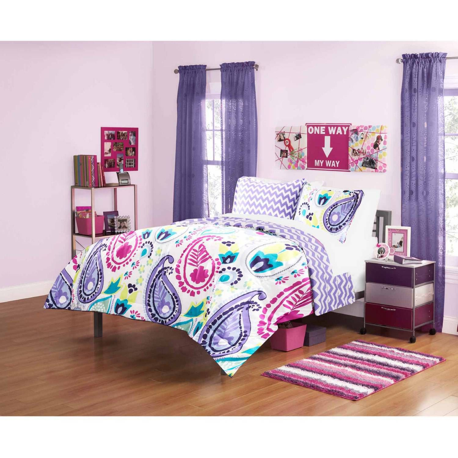 your zone boho paisley bedding comforter set purple walmartcom