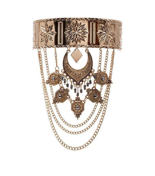 Bracelet de bras doré gravé effet drapé | New Look