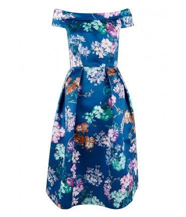Closet London Floral Off The Shoulder Dress In Blue Lilac