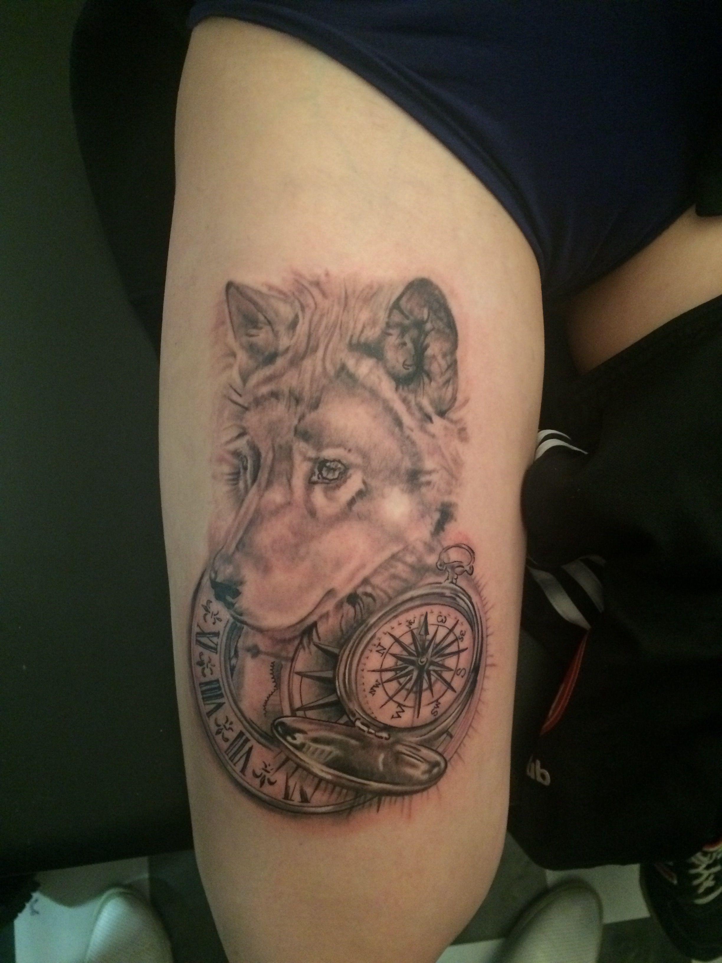 536fec9f7 Wolf tattoo with clock and compass tattoo | Ink | Compass tattoo ...