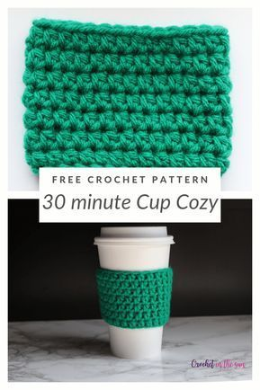 Free crochet pattern - 30 minute Cup Cozy. See the blog for the FREE pattern and photo tutorial. #crochet #crochettutorial #crochetinthesun