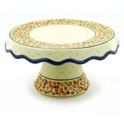 "Polmedia Polish Pottery 11""Pedestal Cake Stand..."