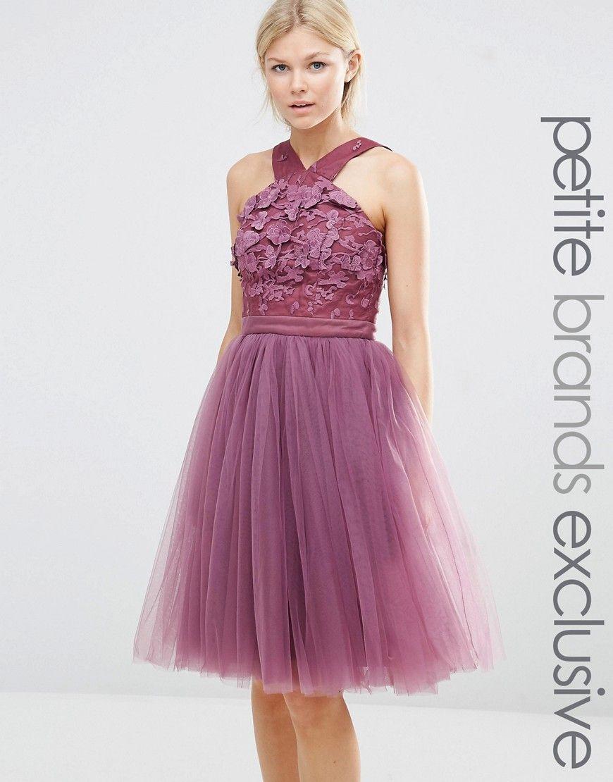 Image 1 of Chi Chi London Petite Cross Front Floral Applique Dress ...