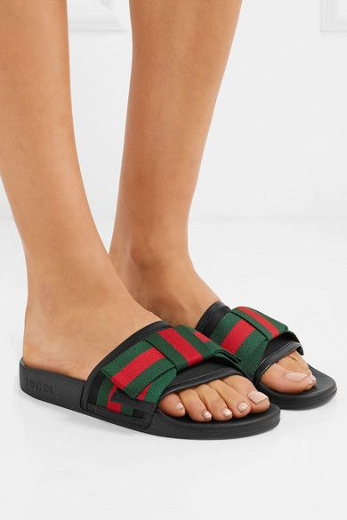 87fb6b18a Gucci | Pursuit bow-embellished satin and rubber slides | NET-A-PORTER.COM