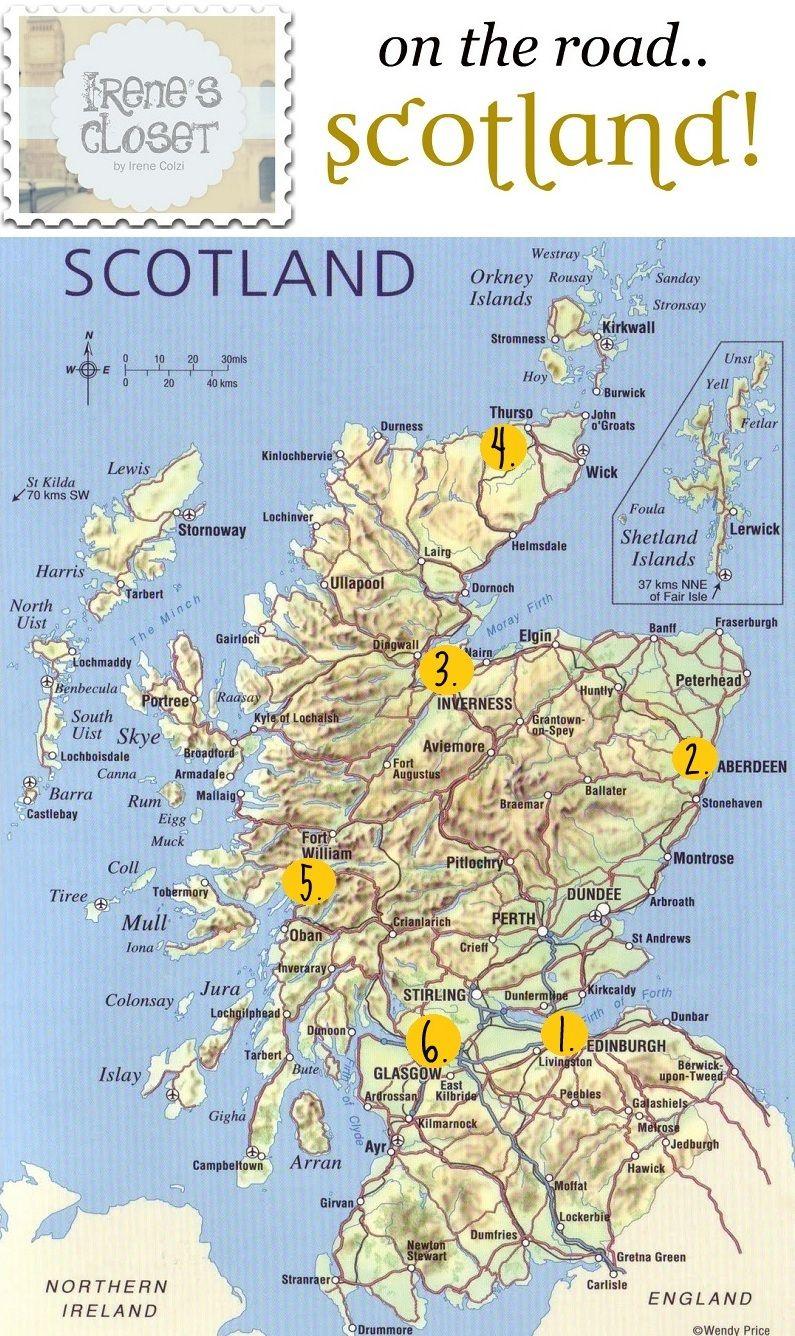Scozia Cartina Stradale.Pin Di Irene S Closet Su Travels Viaggio In Scozia Programma Di Viaggio Scozia