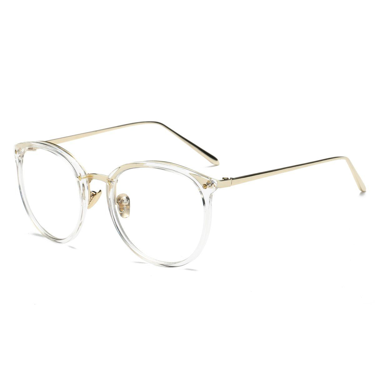 27903d3b387 Amomoma Women's Fashion Round Eyeglasses Optical Frame Clear Lens Eyewear  AM5001 C7 Transparent Gold 50 -- Want to know more
