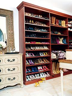 Actress Jamie-Lynn Sigler's 200 square foot closet as photographed by Paul Costello for the April 2007 issue of In Style #celebrity #closet #dressing_room #organization #shoes #wardrobe