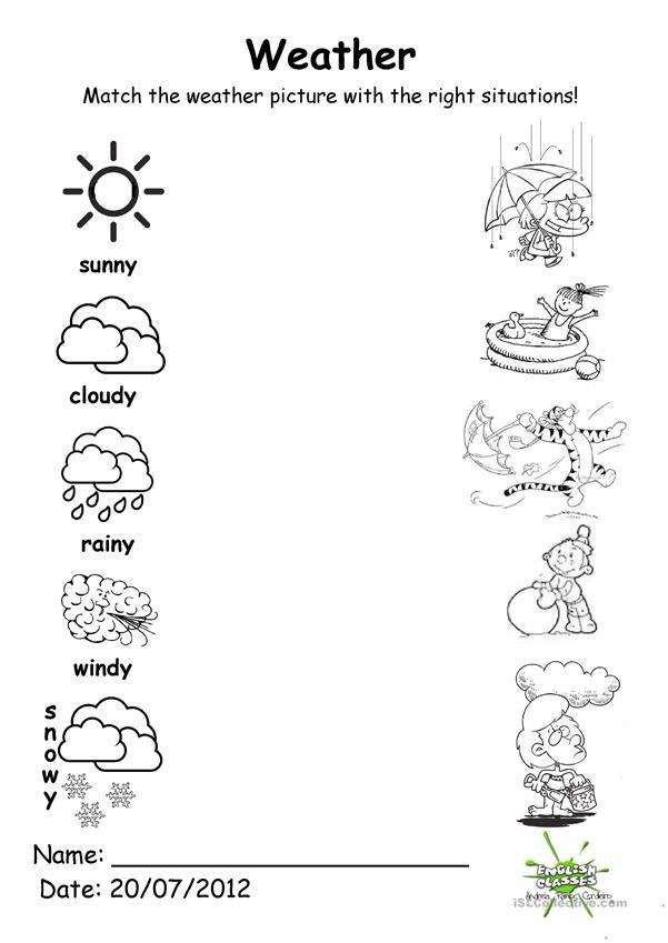 Weather Match Worksheet Free Esl Printable Worksheets Made By Teachers Weather Worksheets Seasons Worksheets Weather For Kids