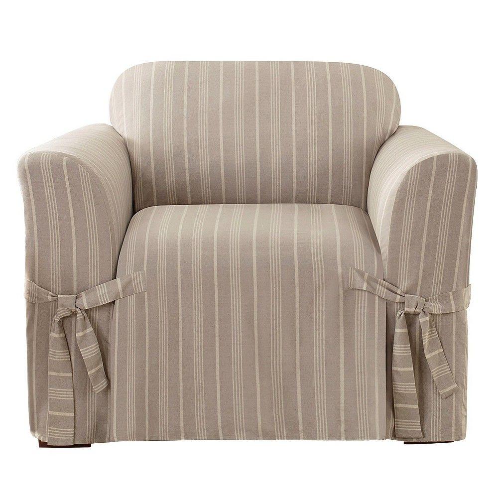 Grainsack Stripe Chair Slipcover Linen Sure Fit