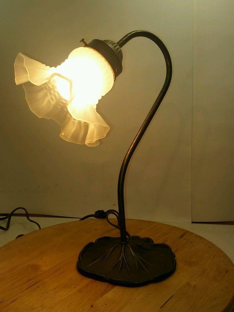 Vintage Brass Tulip Lily Pad Table Lamp Desk Bedside Light