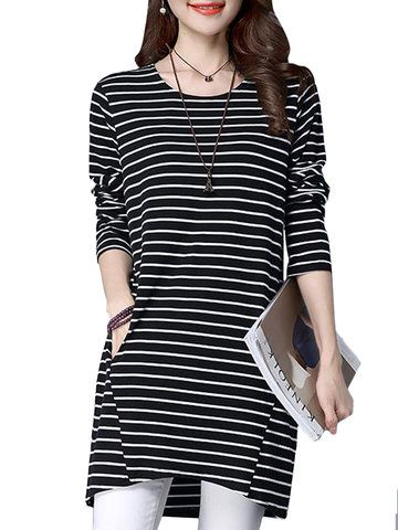 Preppy Style Cross Stripe Patchwork Design Cotton Long Sleeve Women T-Shirts