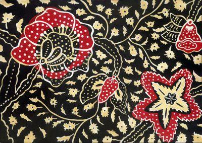 Batik cap with botanical pattern