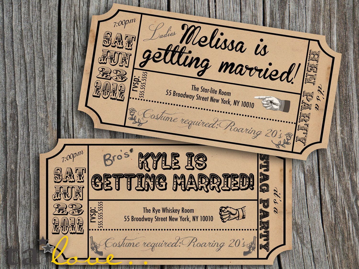 Vintage style bachelorette and stag party invitations personalized matching items available - Hochzeitseinladungen vintage style ...