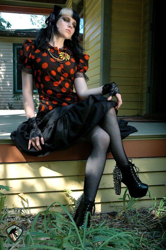 Adult Halloween Costume Blouse Polk a dot Black Cat Halloween - ladies halloween costume ideas