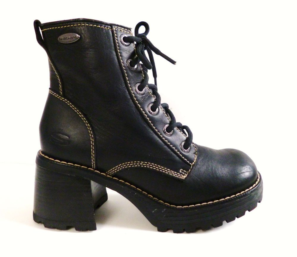 3bd01af22ca7 Vintage 90s Chunky Heel Lace Up Black Leather Combat Boots Size 7.5 Grunge  Goth  SKECHERS