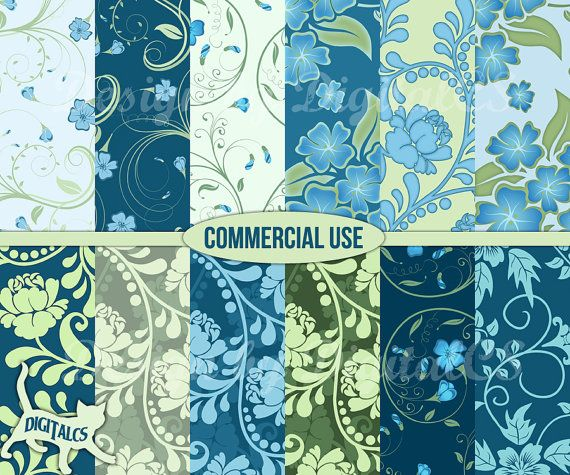 Floral digital paper digital paper floral Digital paper flower Blue Green Craft paper scrapbook paper commercial use