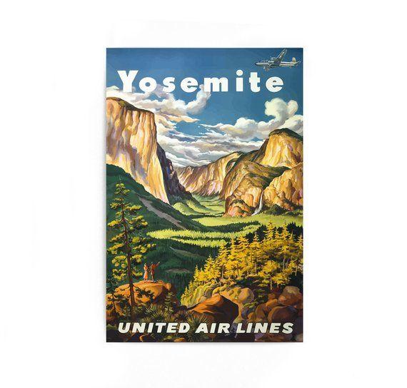 Vintage Voyage Yosemite Yosemite Poster Travel Poster: Yosemite National Park Vintage Travel Poster, United