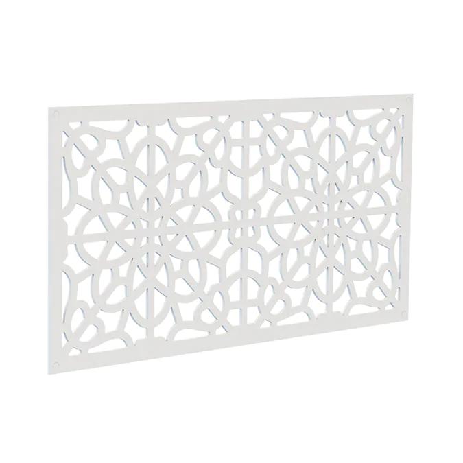 Freedom 24 In X 4 Ft Fretwork White Vinyl Decorative Screen Panel Lowes Com In 2020 Decorative Screen Panels Decorative Screens Vinyl Railing