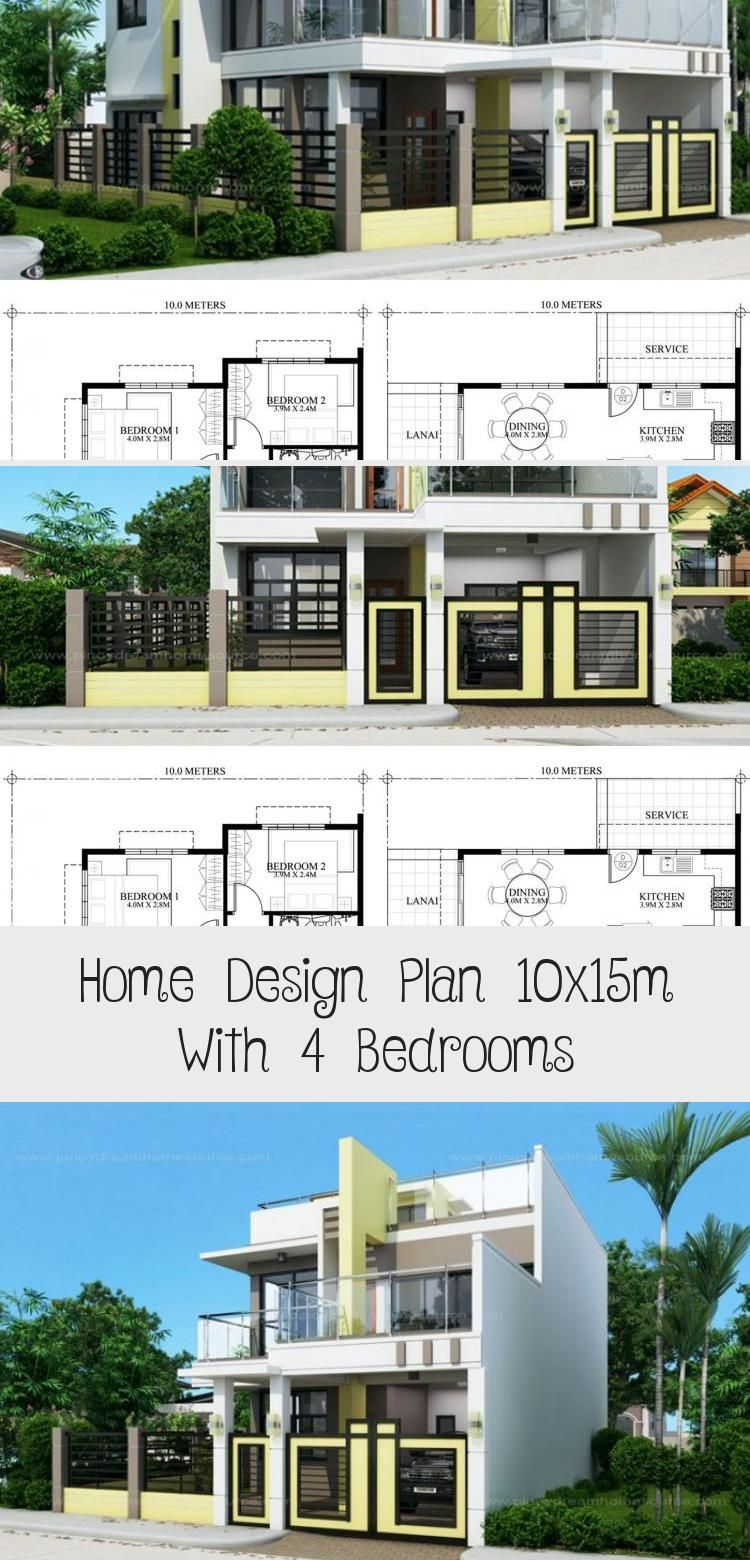 Home Design Plan 10x15m With 4 Bedrooms Home Ideas Floorplans4bedroombasement Floorplans4bedroomapartmen In 2020 Home Design Plan House Design Floor Plan 4 Bedroom