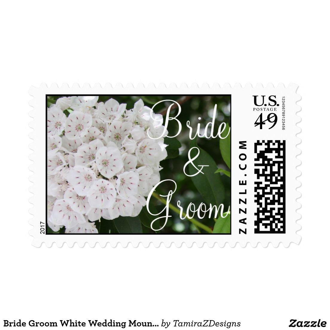 Bride Groom White Wedding Mountain Laurel Postage   Custom postage ...