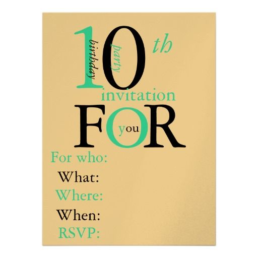 10 Year Old Birthday Invitation